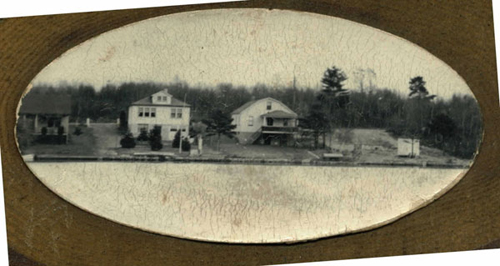 Picture of the Shraders' cottage, the Ermels' Cottage, and the Davis' cottage.  The Ermels are the children and grandchildren of the Ubaldini family that built the cottage, and Bob Davis is the grandchild of the Morgan family.  The Morgan family built Bob Davis' cottage.